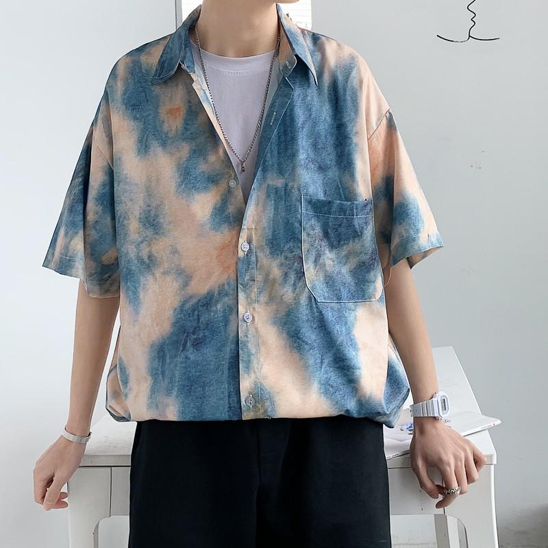 夏季新款古巴風短袖襯衫 M-5XL大碼韓半復古花襯衫 夏威夷風男襯衣
