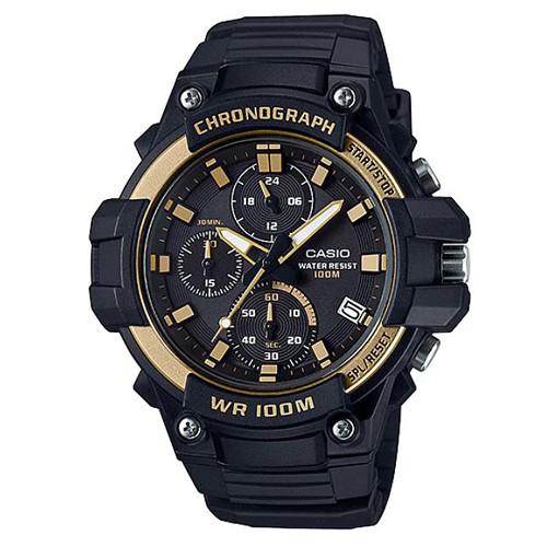 【CASIO】全新進化大錶面三眼三圈指針運動錶-金圈(MCW-110H-9A)正版宏崑公司貨
