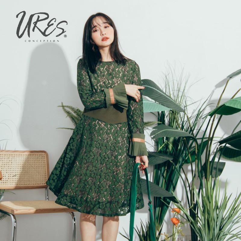 URES 復古綠蕾絲雕花透視連身洋裝【881000319】