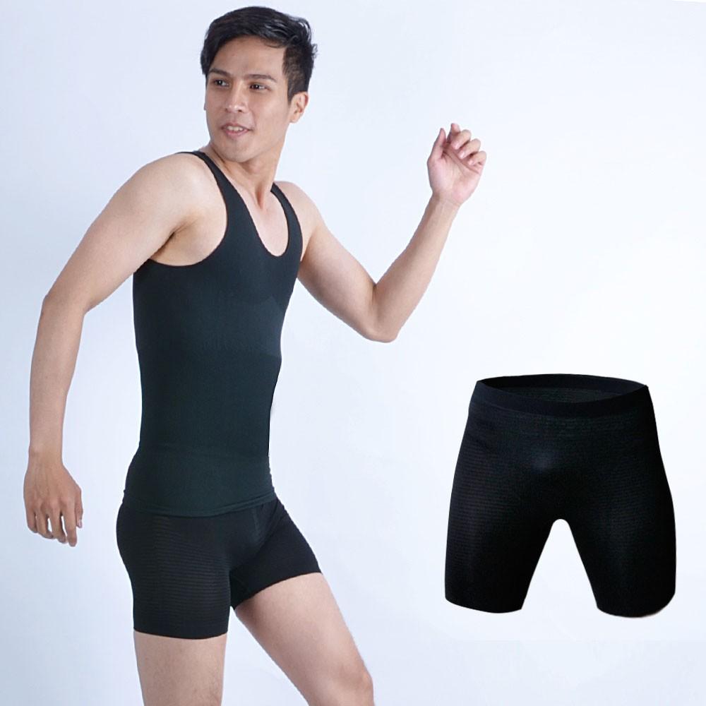 鍺鈦銀按摩提臀三分褲 男性塑身褲 黑色