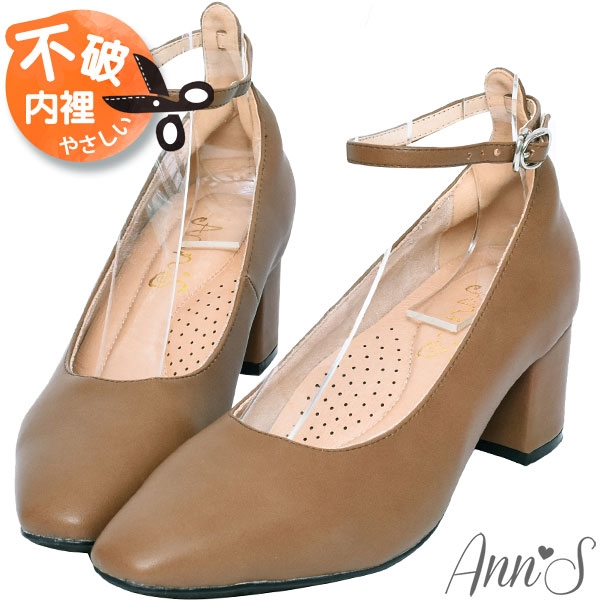 Ann'S穿了就變筷子腿-繫帶瑪莉珍微方頭粗跟包鞋5.5cm-棕