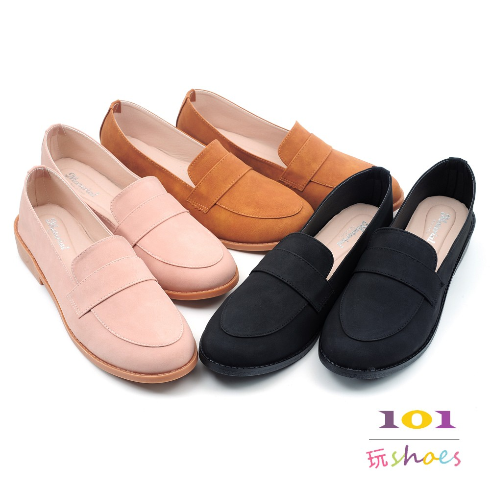 【101玩SHOES】MIT 大尺碼簡約文青風格樂福鞋低跟包鞋女鞋 黑色/粉色/棕色 41-44