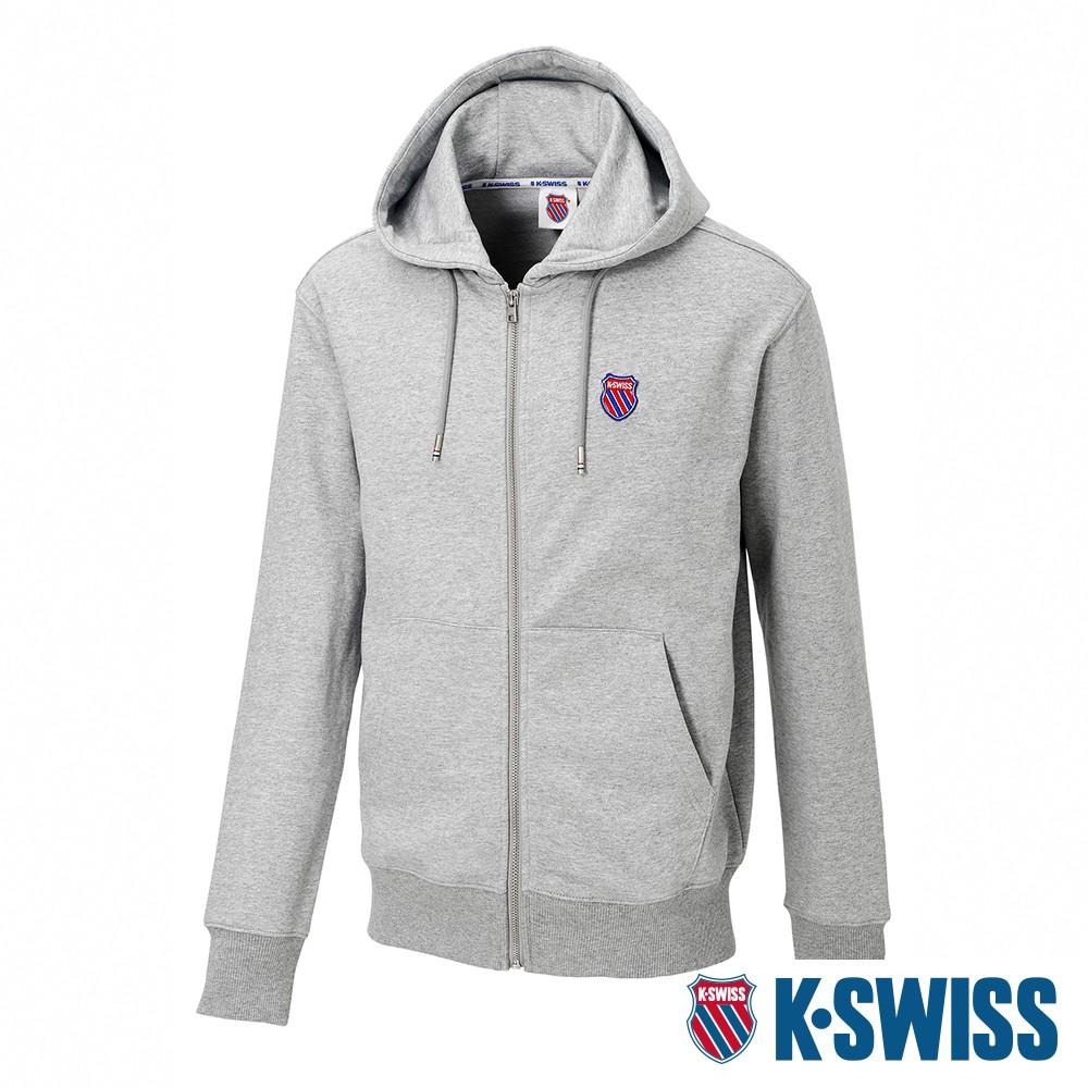 K-SWISS Court Hooded Zip-Up時尚連帽外套-男-灰