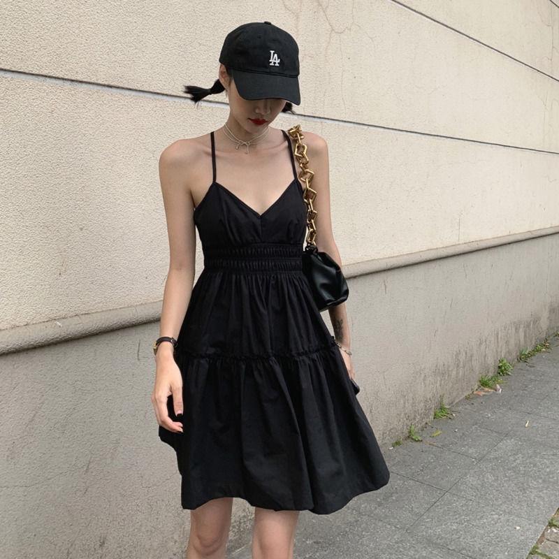 [免運]黑色小可愛無袖洋裝 234127V領小心機收腰蓬蓬大擺女