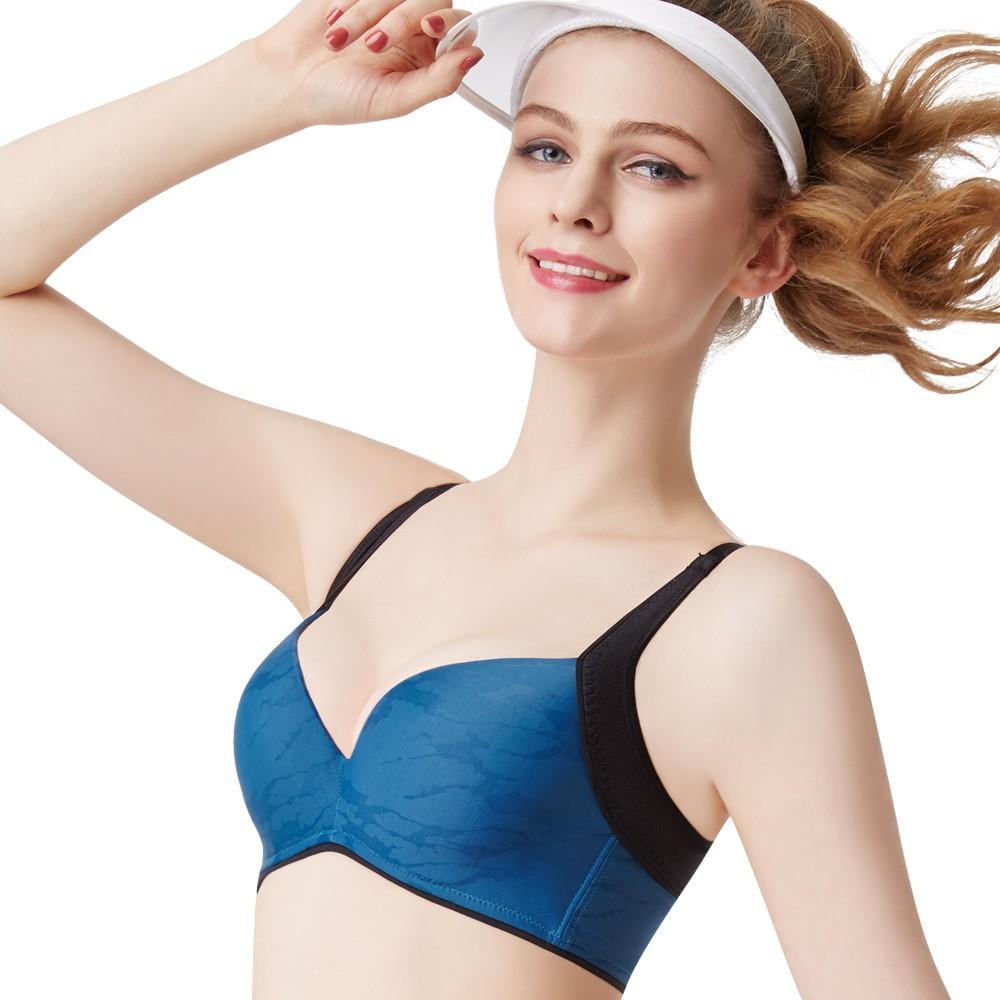 SWEAR 思薇爾 K.K Fit系列B-F罩模杯素面運動內衣(瓷器藍)