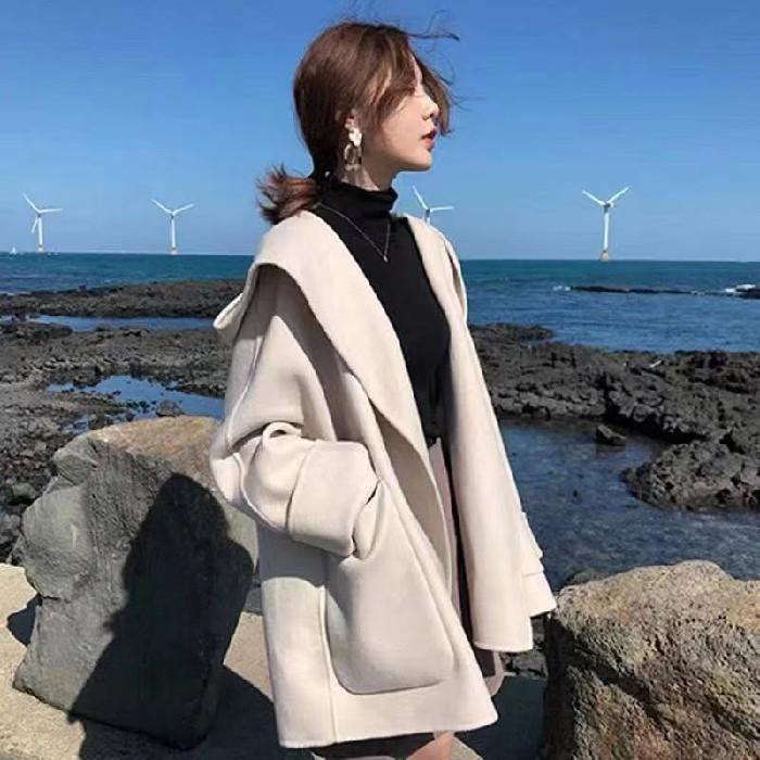 韓版寬鬆大衣外套 百搭小香風毛呢外套 小個子法式斗篷毛呢外套女 學生短版大衣外套