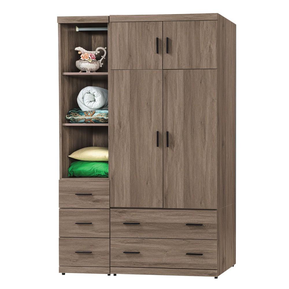 Boden-森恩4.1尺工業風四門五抽衣櫃/多功能收納衣櫃組合(灰橡色)