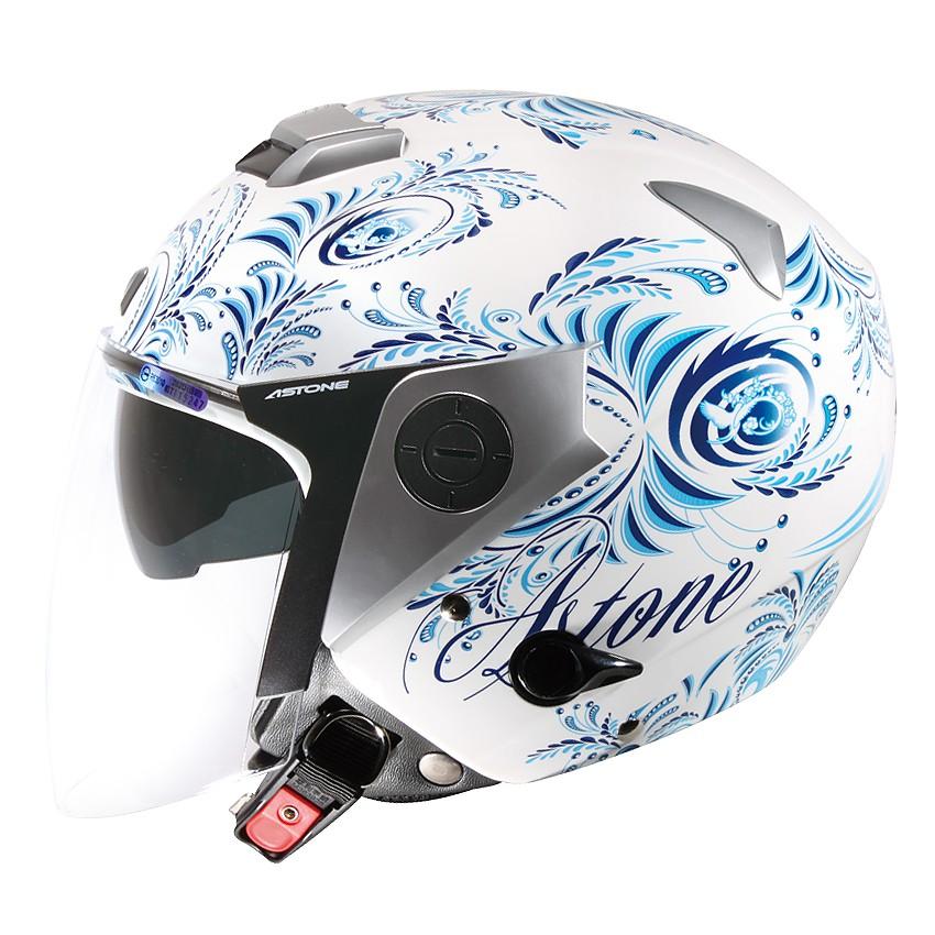 【ASTONE】RS II38(白藍) 3/4 半罩 安全帽 內藏墨片 鏡片快拆 眼鏡溝 安全插扣 內襯可拆洗
