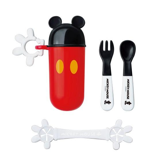 日本 迪士尼 Disney 米奇攜帶餐具組+餐巾夾 附收納盒【麗兒采家】