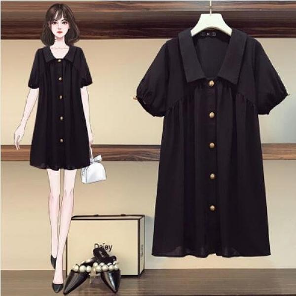 洋裝 連身裙 中大尺碼L-4XL新款胖MM遮肉減齡顯瘦洋氣大碼中長款連衣裙3F059-5018.皇潮天下