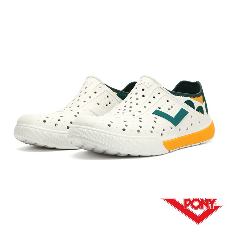 【PONY】中性 / ENJOY洞洞鞋 踩後跟 雨鞋 水鞋 -12U1SA01- 白黃