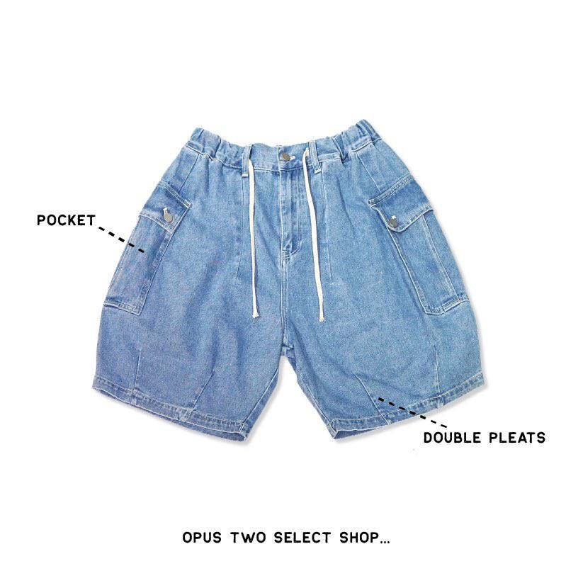【OPUS TWO】牛仔氣球褲 短褲 工裝 軍裝 寬版軍褲 中性款式 男女皆可穿 淺藍色