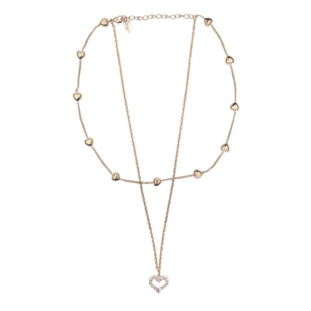 韓國時尚百搭項錬 銅 鋯石 多層 可拆分 抗過敏鍍真金 高級感頸項鏈 鎖骨鏈