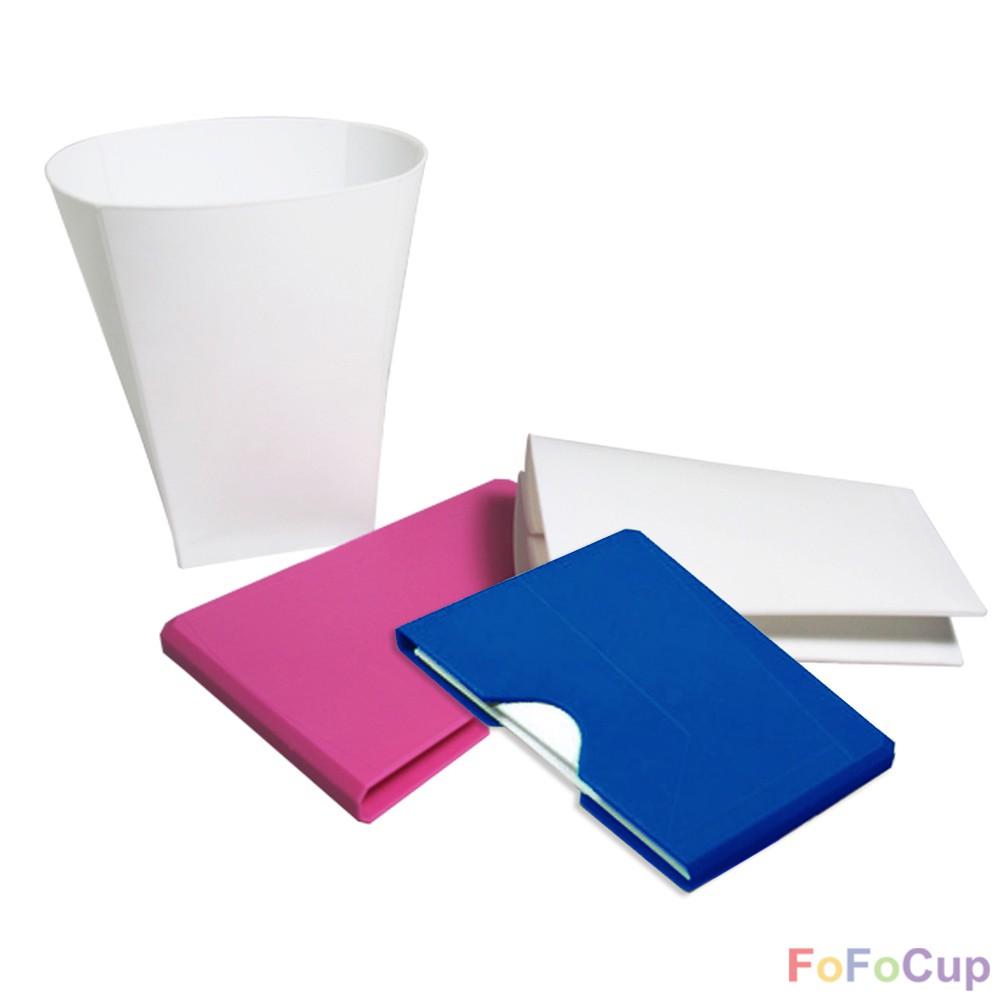 FOFOCUP 台灣創意可摺疊8oz折折杯(兩入組藍+粉)