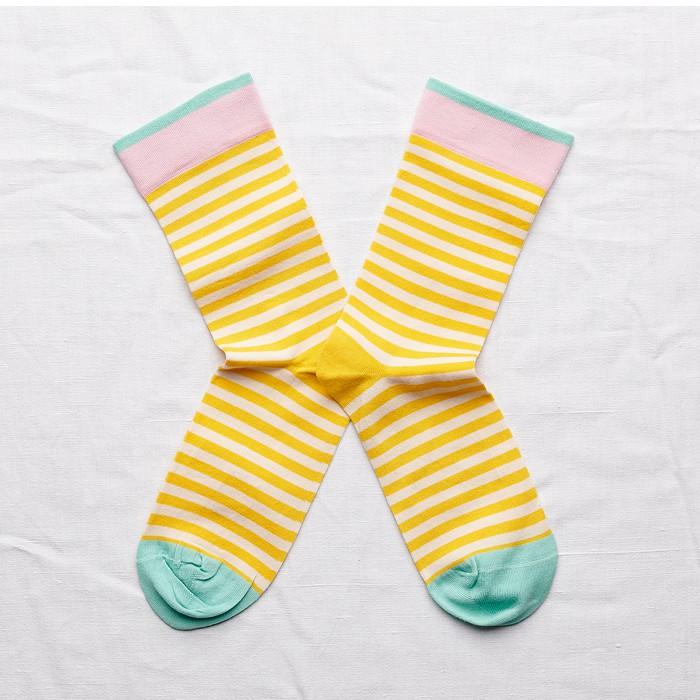 法國Bonne Maison Mimosa Stripe熱情黃色條紋中統襪法國製BD3-01