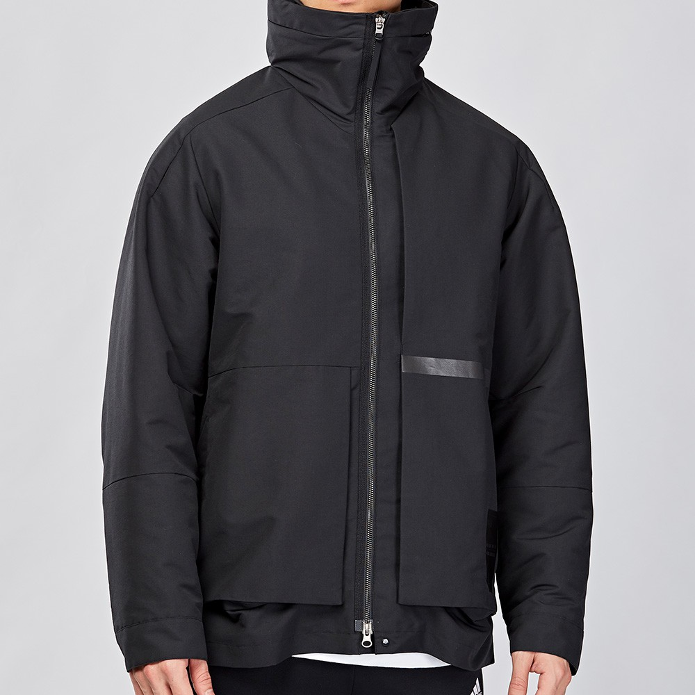 Adidas ID 男款 黑色 內刷毛 立領 可收納式帽 風衣 長袖 外套 FJ0255