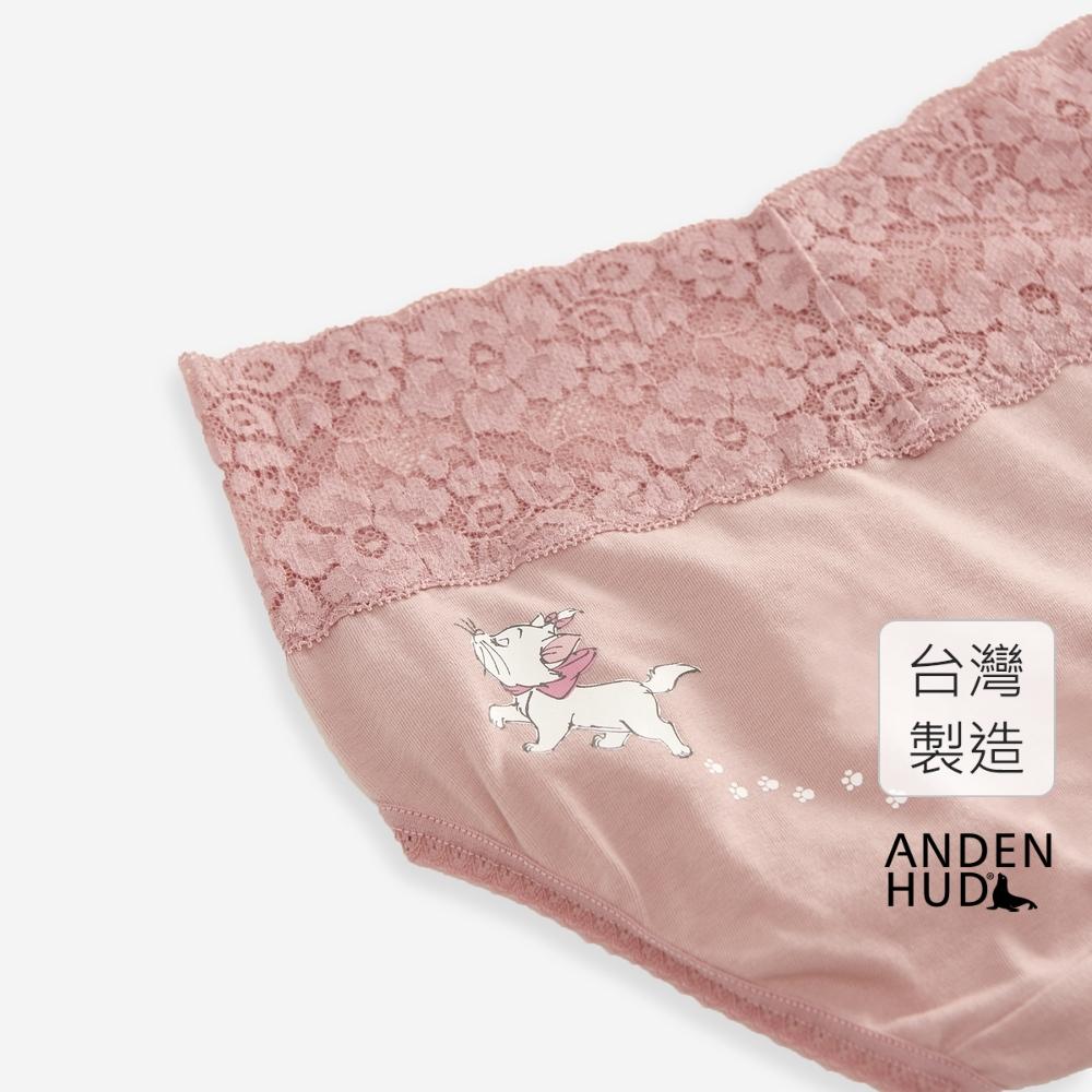【Anden Hud】迪士尼粉紅季.V蕾絲中腰三角內褲(粉-瑪莉貓走路) 台灣製
