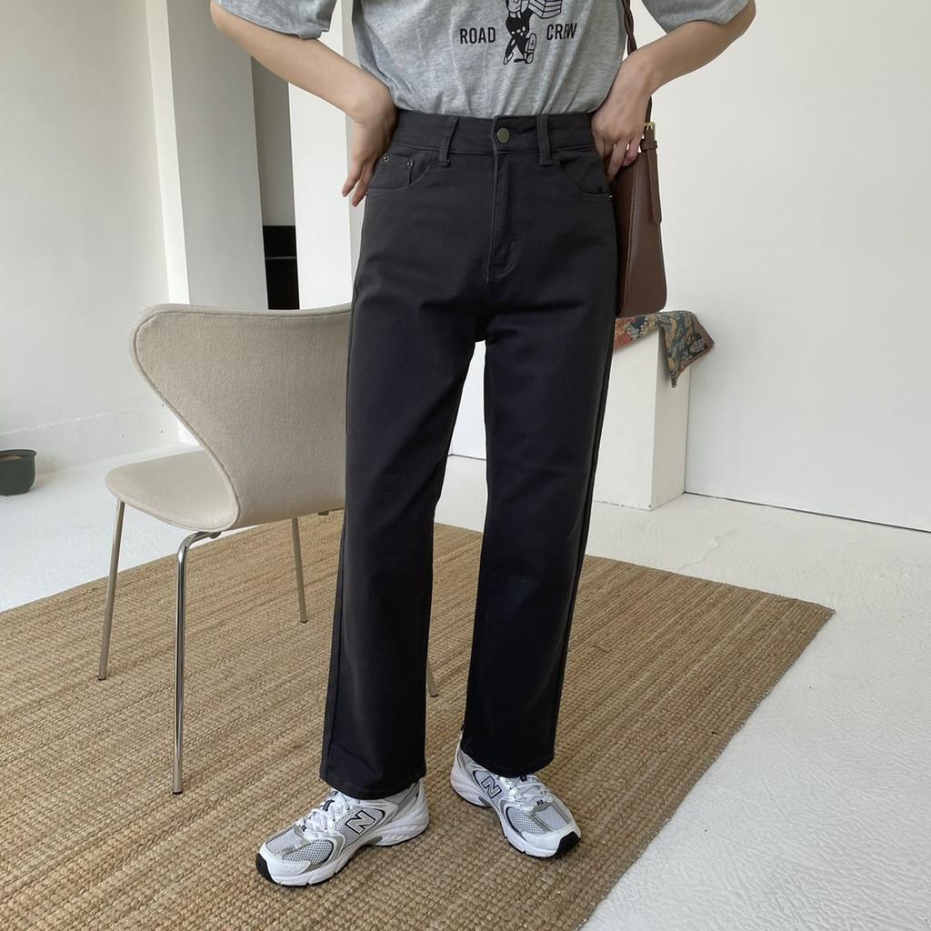 高級黑灰色高腰牛仔直筒褲 灰色牛仔褲 黑灰牛仔褲 直筒褲 高腰褲 顯瘦牛仔褲 高腰牛仔褲 GRASS 現貨[B6791]