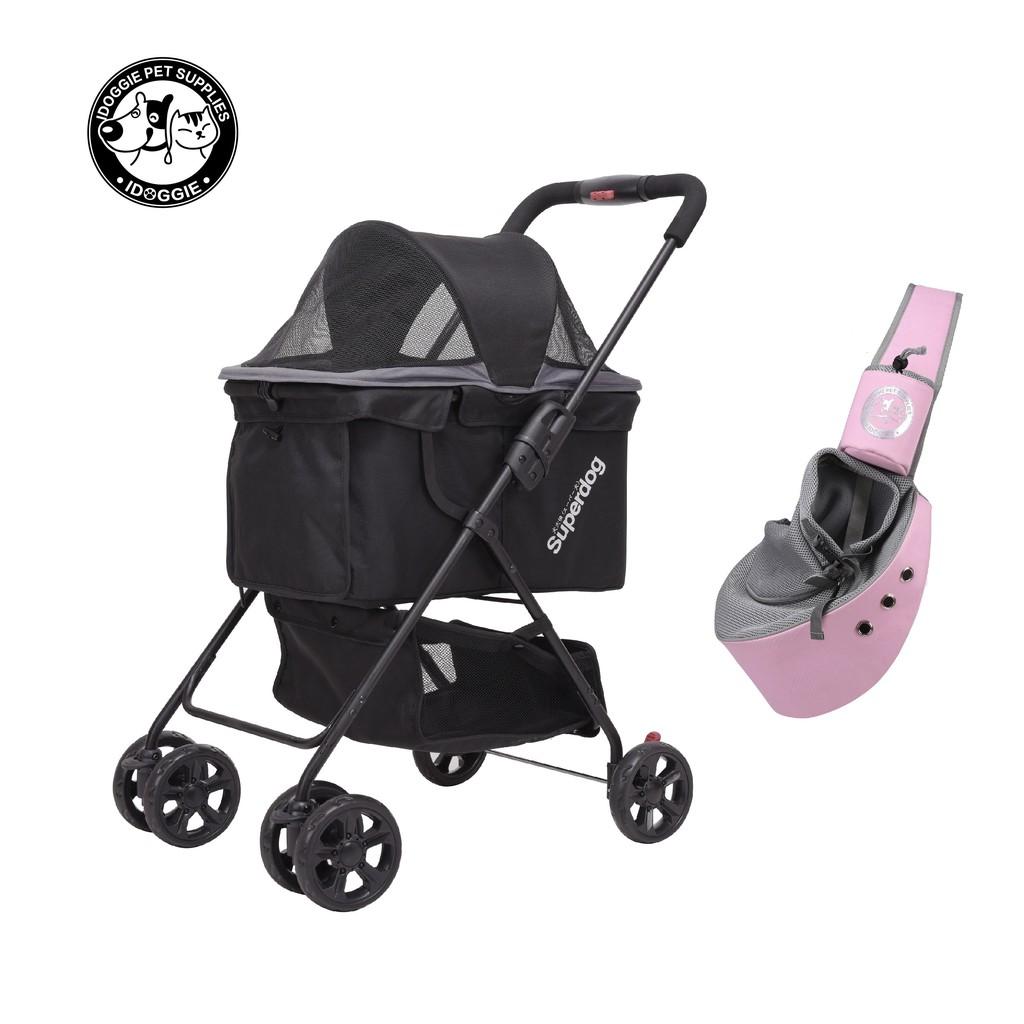 iDoggie 寵物推車(黑色)+寵物斜背包(粉紅色) 優惠組合