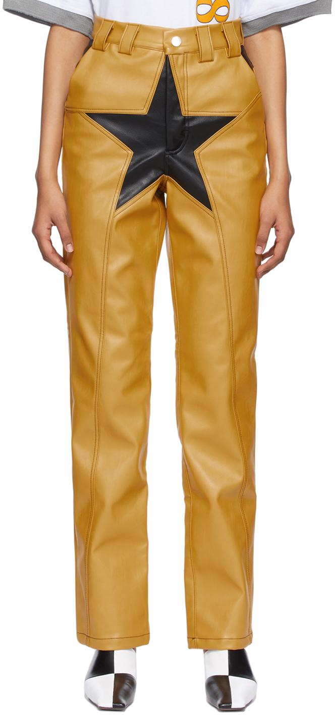 BARRAGÁN 黄色 Lil Star 合成皮革长裤