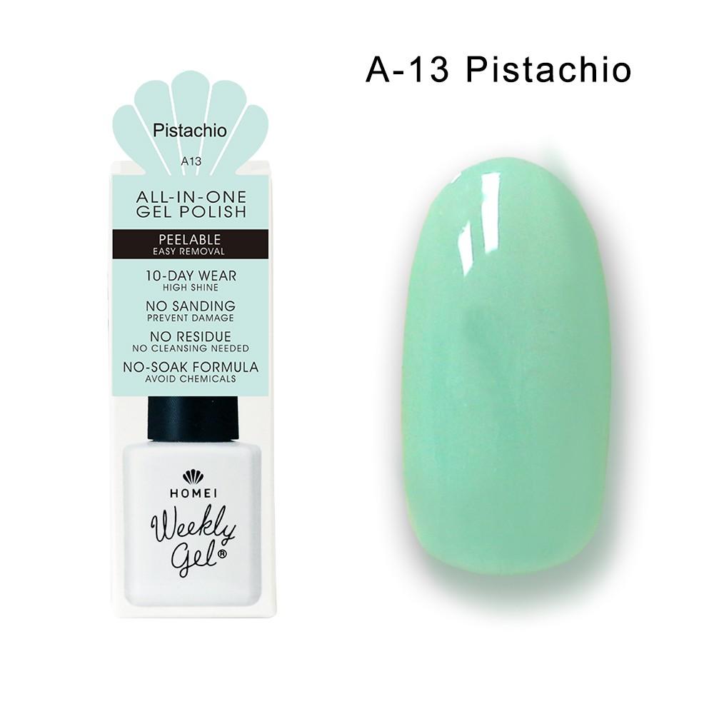 Homei Weekly Gel 可剝光撩凝膠 A-13 Pistachio(9ml/瓶)