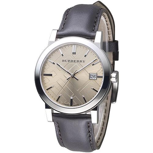 BURBERRY 博柏利手錶 BU9011 倫敦精品幾何圖形設計皮帶男錶-棕褐 保固二年 廠商直送
