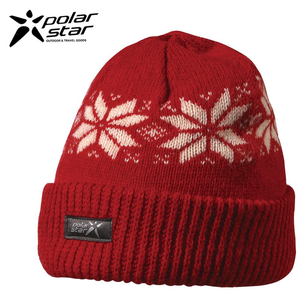 PolarStar 台灣製 反摺橫條羊毛保暖帽(內襯刷毛布,降低刺癢感) P13606『紅』