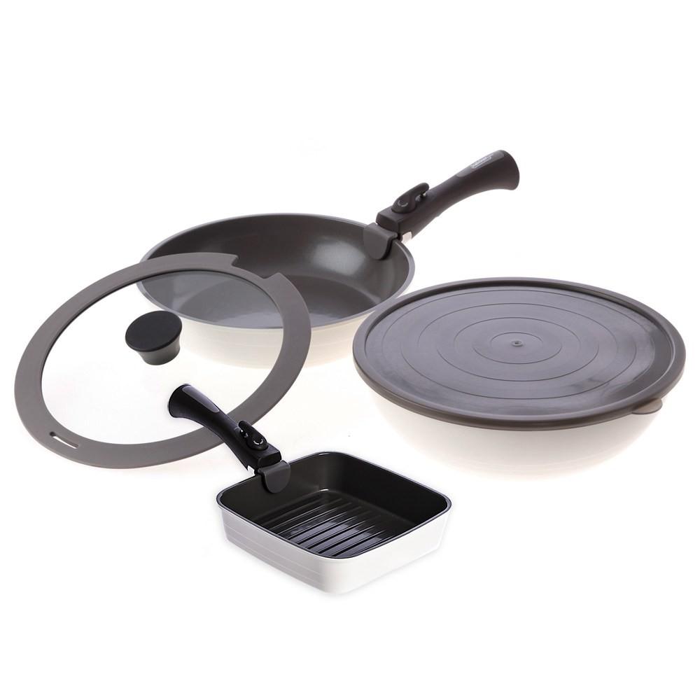 可拆式陶瓷不沾導磁煎炒鍋5件組-白+不沾導磁方形煎盤-白+可拆式手柄-灰