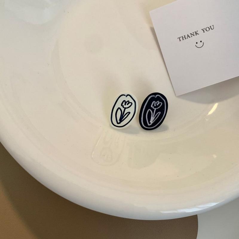 S925銀針韓國花朵耳釘 氣質新款耳環 無耳洞耳夾 F382