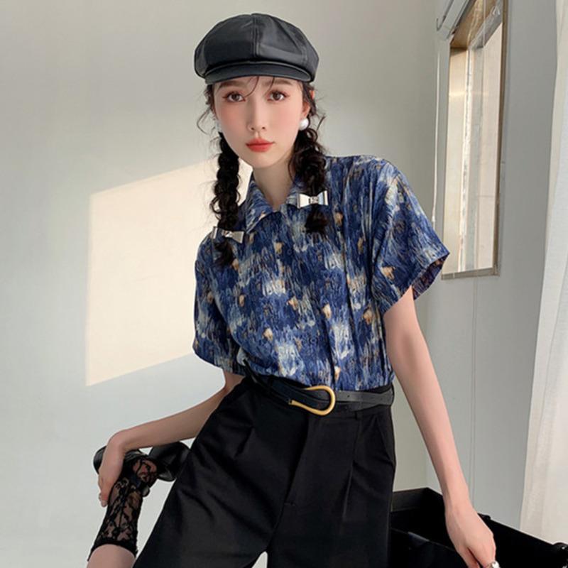 短袖衬衫 171979韓版上衣印花花襯衫顯瘦設計感小眾女士新款百搭襯衣