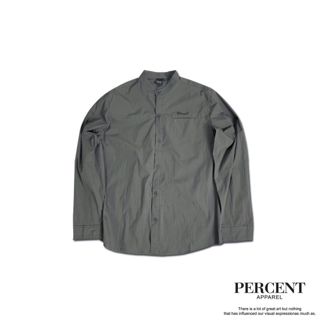 PERCENT% 無領口袋襯衫 灰色 藤原本舖 長袖襯衫 立領襯衫 襯衫外搭 襯衫 休閒襯衫 正式襯衫