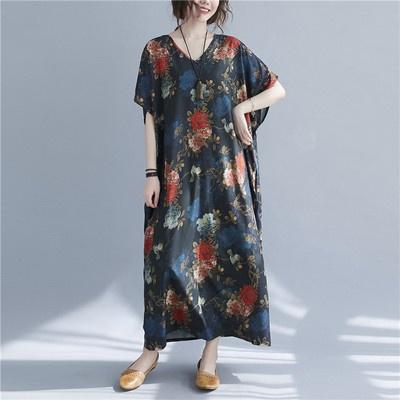 洋裝寬裙長版裙1349 復古花朵V領度假大長裙短袖長袍子N601-C.衣時尚