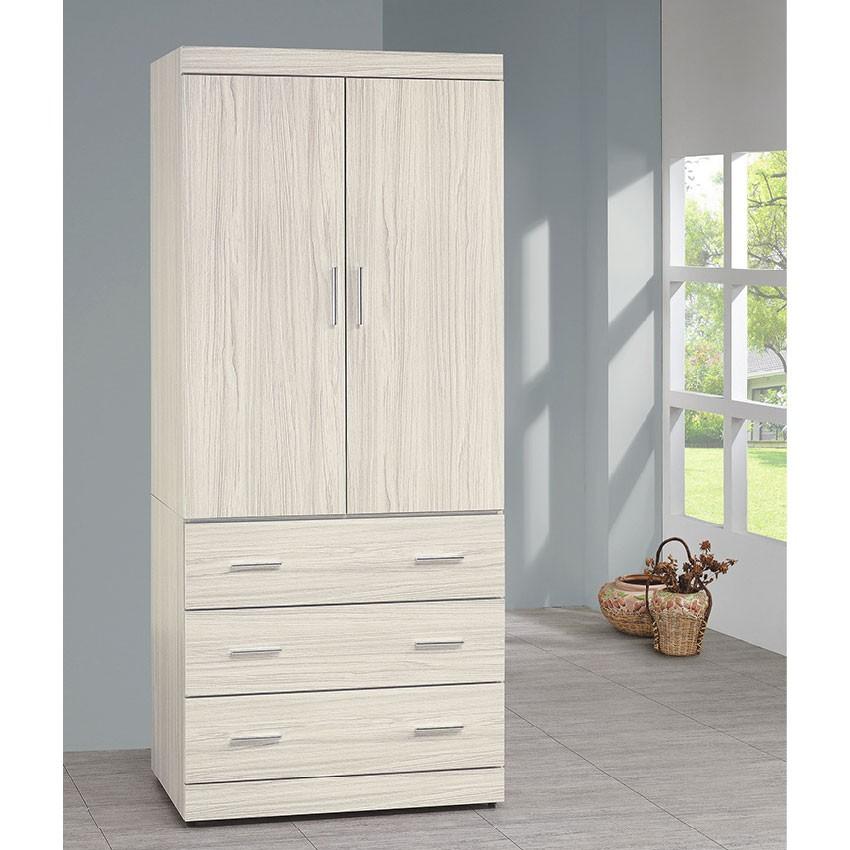 【80cm三抽衣櫃-K16-3137】木心板 推門滑門開門 衣服收納 免組裝 【金滿屋】