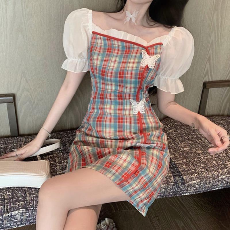 短袖洋裝女 夏季新款少女風格子裙 拼接泡泡袖旗袍風 蝴蝶扣裝潢通勤 修身連衣裙 打底裙a字裙