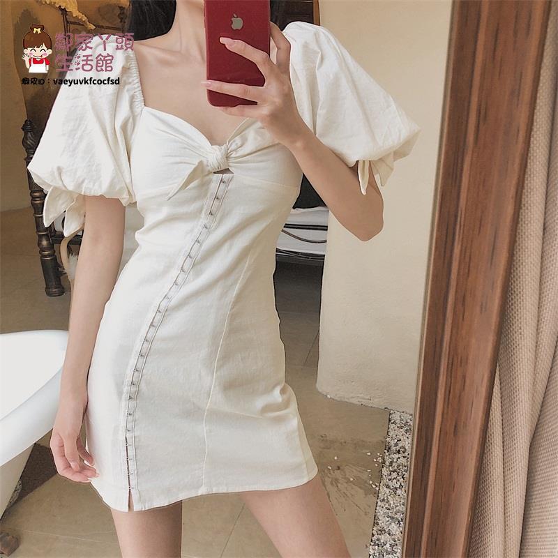 小香風系帶連衣裙女春夏2021新款泡泡袖短袖氣質裙子修身a字短裙【2021新款洋裝】