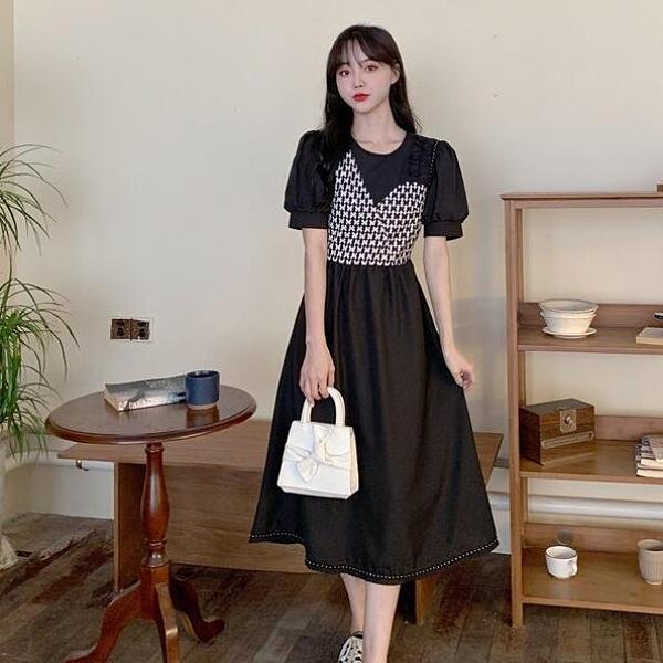洋裝 假兩件 短袖 中大尺碼 L-4XL新款大碼氣質連身裙女提花泡泡袖法式桔梗裙4F110-6617.胖胖唯依