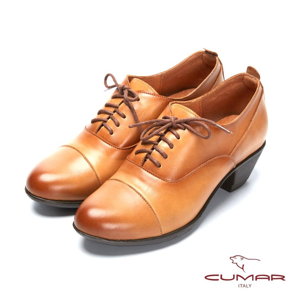 【CUMAR】簡約步調 - 擦色綁帶尖頭粗跟踝靴 - 茶樹棕