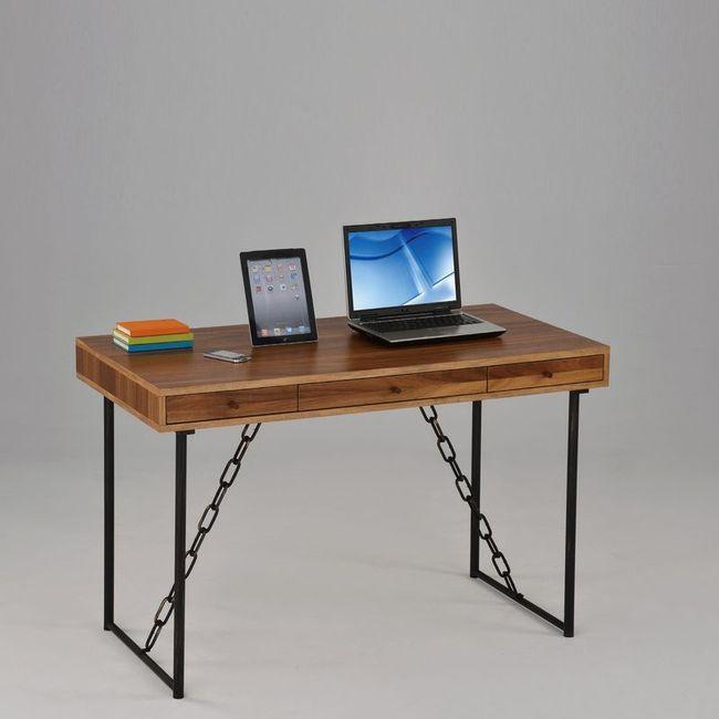 【FA811-2】卡斯特4尺淺胡桃三抽鐵鍊書桌