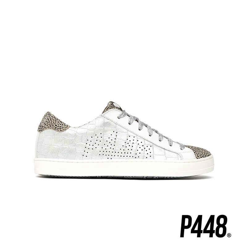 P448-JOHN真皮豹紋小白鞋-銀