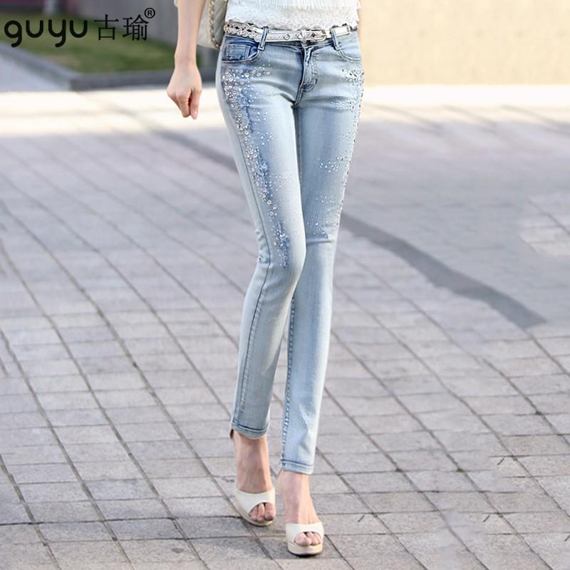 燙鑽低腰牛仔長褲女韓版女生衣著加大尺碼修身顯瘦小腳褲丹寧褲鉛筆褲