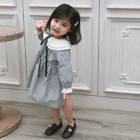 女童雙層娃娃領簡約氣質洋裝 女童洋裝 兒童洋裝 女童連衣裙【蘋果小舖】(MI)1912 A5