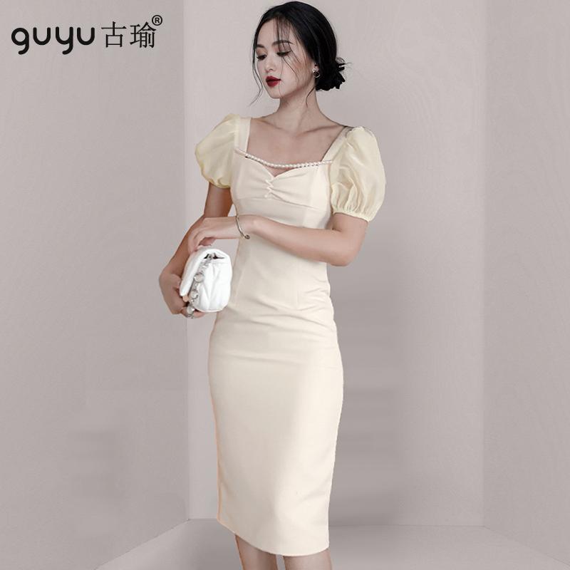 公主短袖針織洋裝 S-XL韓版過膝一步裙窄裙洋裝外出尺碼包臀連衣裙
