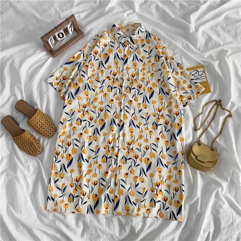 短袖襯衫 179441中長款襯衫女設計感小眾輕熟泫雅風寬鬆碎花襯衣