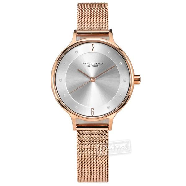 ARIES GOLD / 晶鑽 藍寶石水晶玻璃 米蘭編織不鏽鋼手錶 銀x鍍玫瑰金 / L5033ZRG-W / 30mm