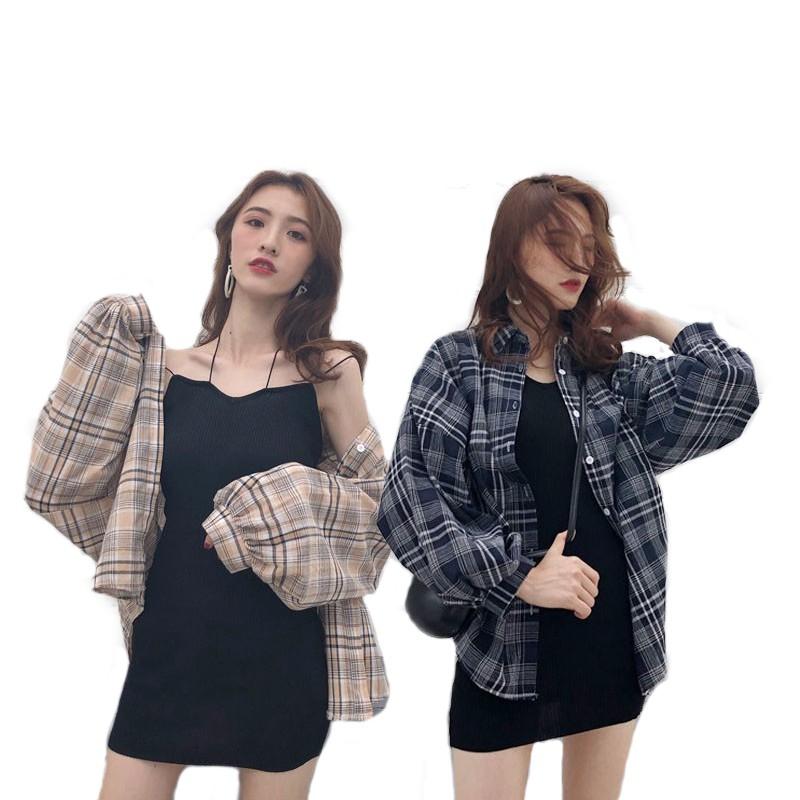 襯衫 外套 格子外套 網紅套裝早春洋氣格子寬鬆防曬村衣+掛脖包殿針織小可愛裙兩件式(分開下標)