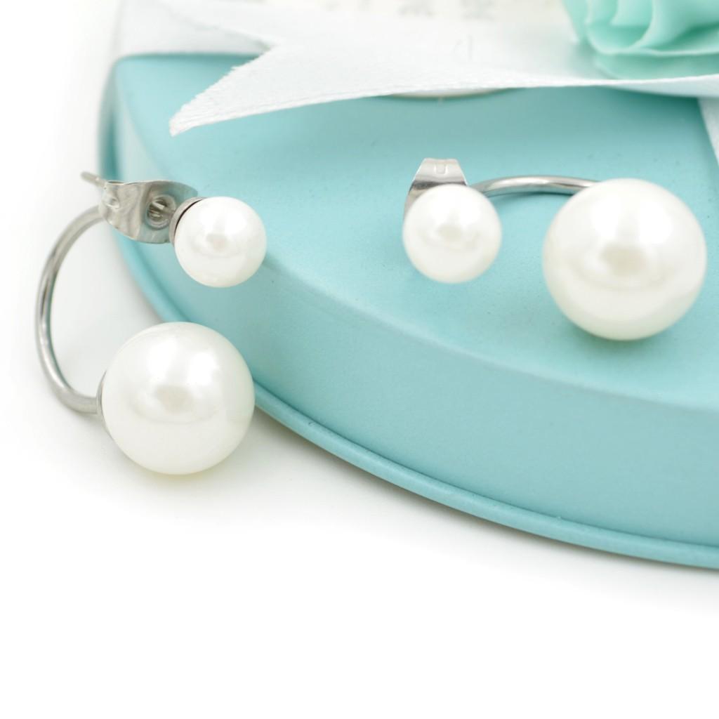 珍珠 C形耳環 鈦鋼 防過敏 耳針款 耳骨釘 艾豆『B2851』