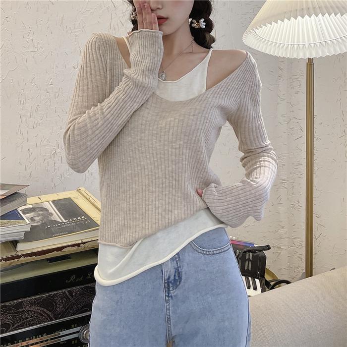 L-4XL大尺碼衣著 大碼女裝冰絲薄款針織打底夏季假兩件純欲露肩性感上衣長袖