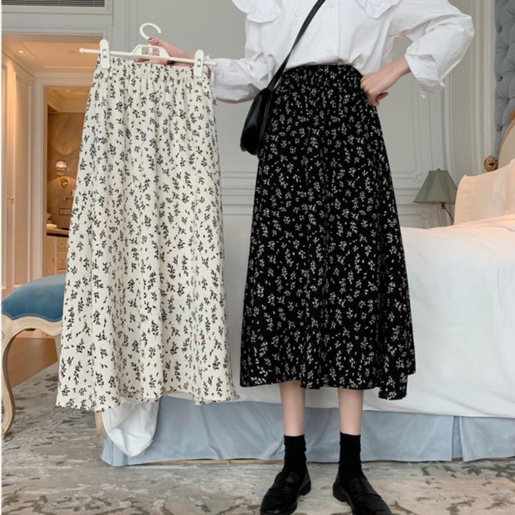 碎花半身長裙 白色中長款包臀裙顯瘦遮胯高腰a字裙 小宅女
