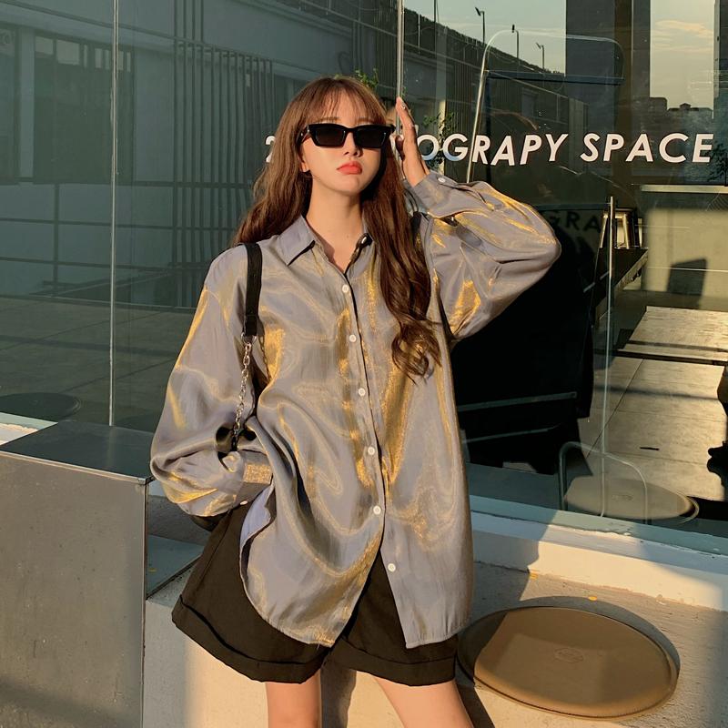 春秋港味复古人鱼姬偏光长袖衬衫女设计感小众中长款韩版宽松上衣