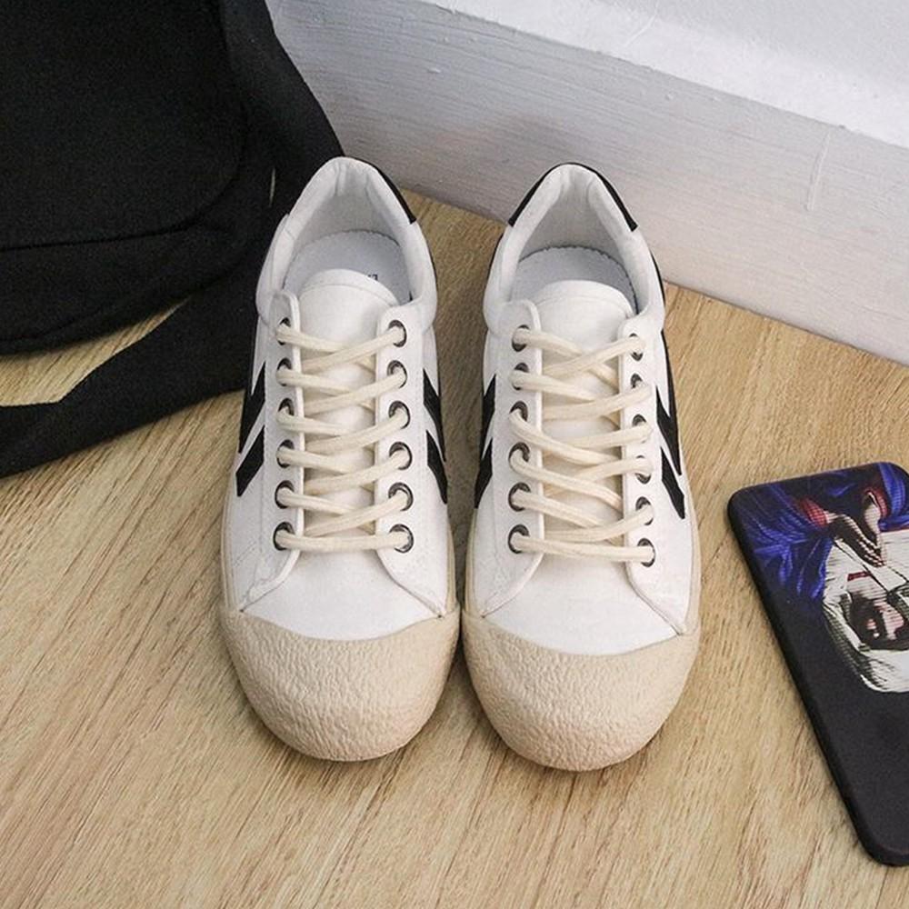 X-INGCHI 男女款白色韓系帆布休閒鞋-NO.X0220